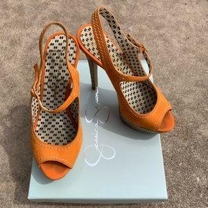 Jessica Simpson orange high heel shoes
